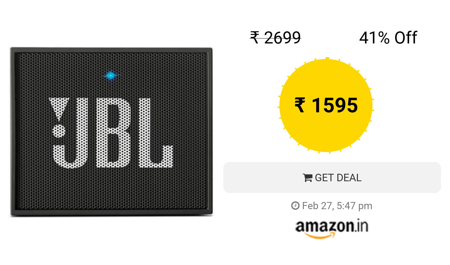 JBL GO Portable Wireless Bluetooth Speaker with Mic (Black