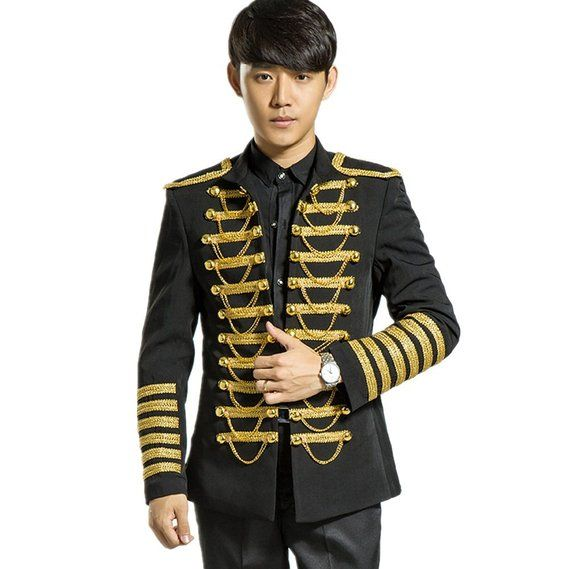 fd277331 MYS Men's Royal Gold Chain Party Tuxedo Jacket and Pants Set Black Size 38R