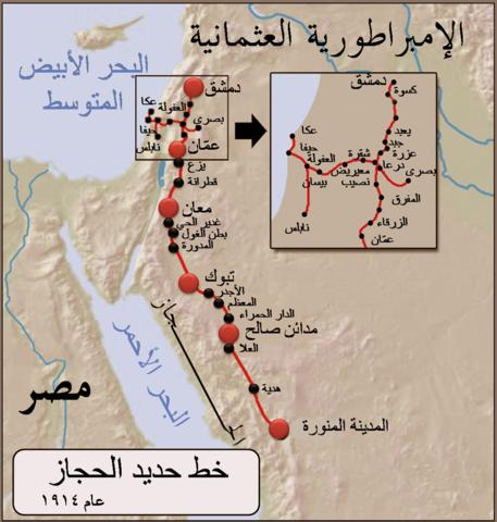 خط حديد الحجاز انطلق اول قطار من دمشق في 22 آب 1908 Map Train Morroco