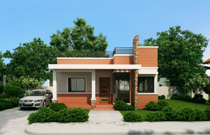Rommell One Storey Modern With Roof Deck Pinoy Eplans House Roof Design House Designs Exterior Small House Design