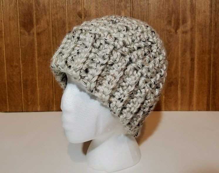 Aspen Tweed Hat Chunky Crochet Hat Mens Crochet Beanie