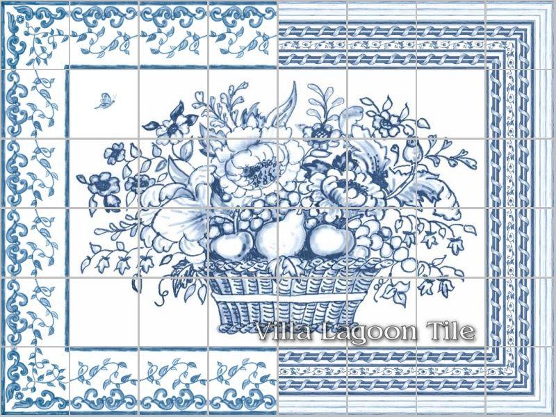 Delft tile flower basket panel architectural blue and for Delft tile mural