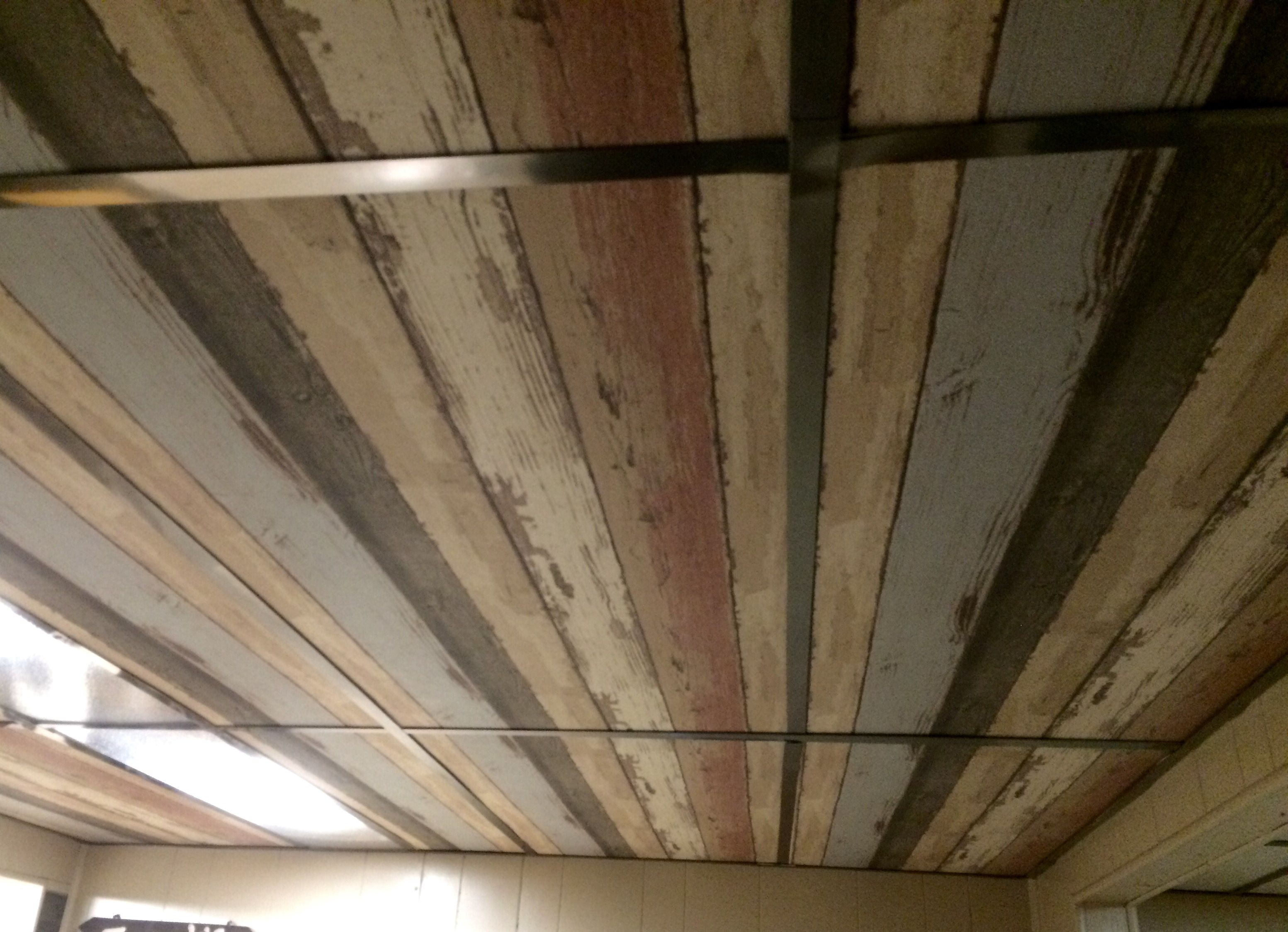 Dropped ceiling - I wallpapered the old ceiling tiles. I ...