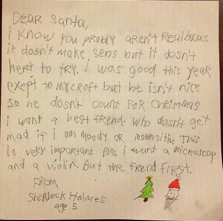 Awwww! Little Sherlock's letter to Santa.   Letters for ...