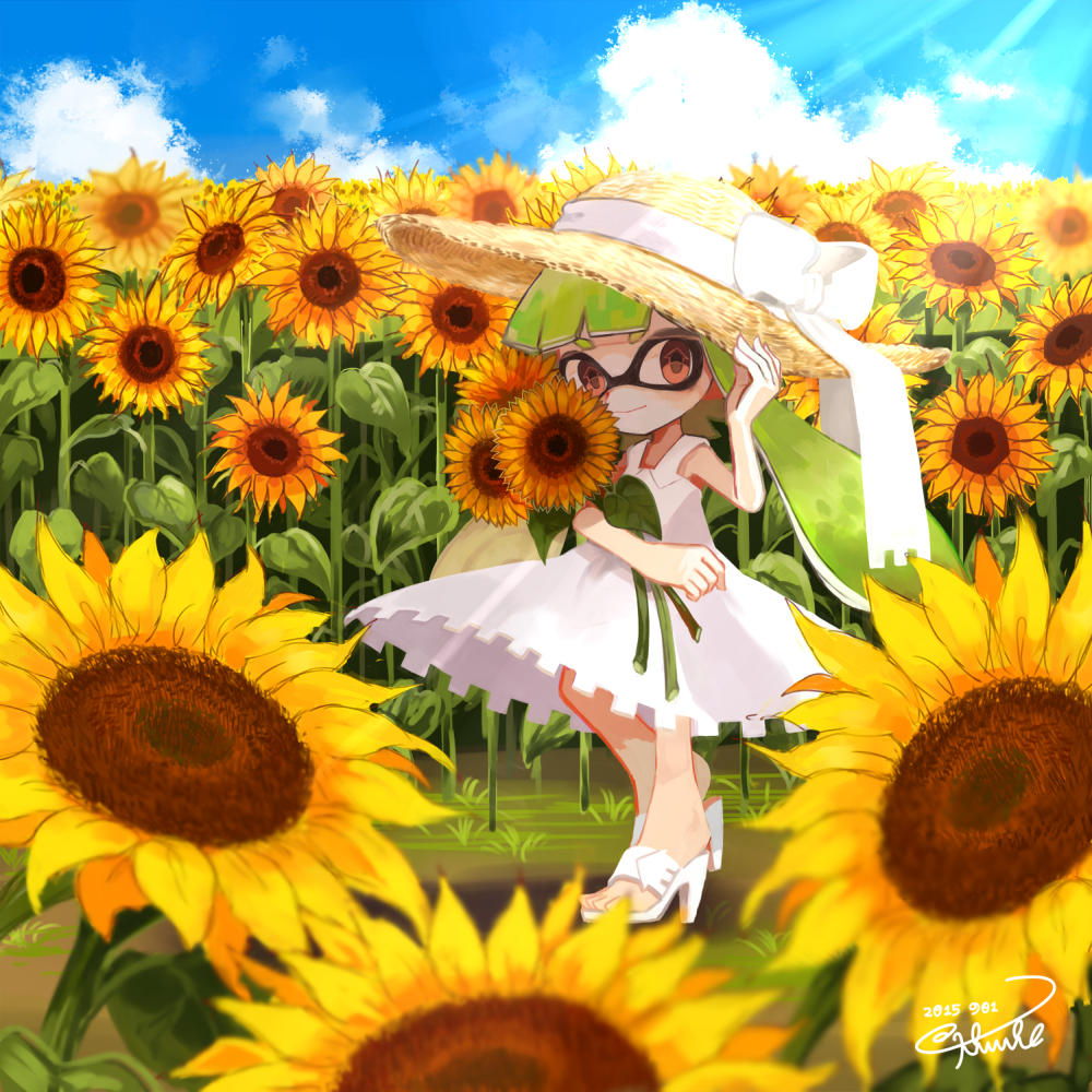 Anime Picture Search Engine 1girl Adjusting Clothes Adjusting Hat Artist Name Clouds Cloudy Sky Dated Domino Mask Dress Flowe Splatoon Artist Names Tentacle