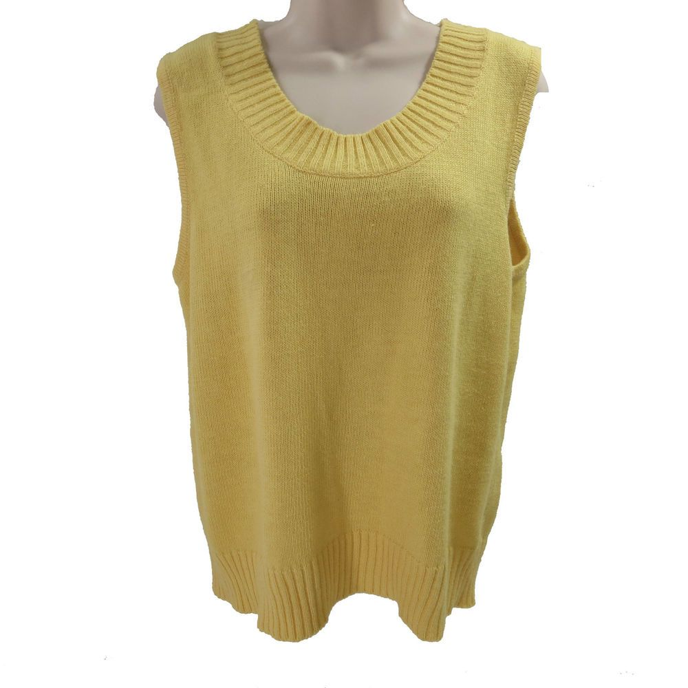 Storybook Knits M Yellow Ramie Cotton Ribbed Knit Scoop Neck Womens Tank Vest #StorybookKnits #VestSleeveless #Work