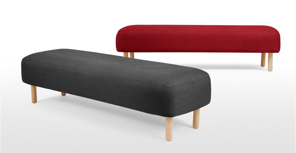 Jonah Upholstered Bench in shire grey  | made.com