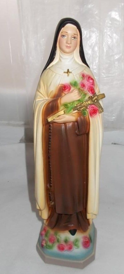 Vintage St Theresa Lisieux Chalk Statue Figurine C S 129 Columbia Statuary Italy