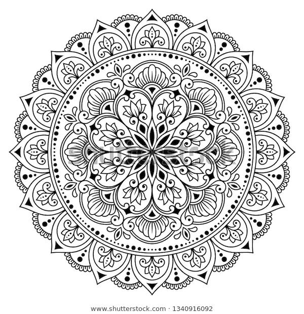 Circular Pattern In Form Of Mandala With Flower For Henna Mehndi Tattoo Decoration Decorative Ornament Mandala Pattern Mandala Design Pattern Flower Henna