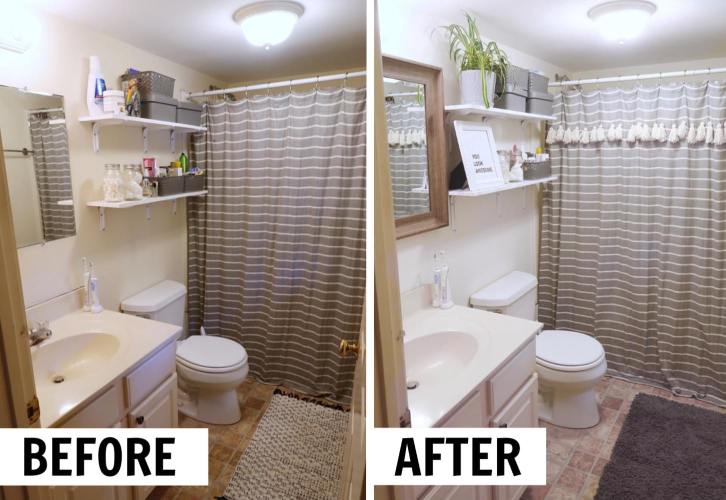 How To Decorate A Rental Bathroom 65 Bathroom Makeover In 2020 Rental Bathroom Makeover Rental Bathroom Cheap Bathrooms