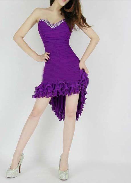 Ruffled High Low Rhinestone Dress