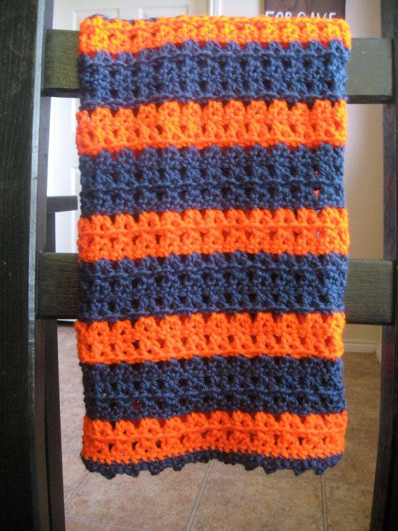Handmade Crochet Baby Blanket Custom Pink Blue Green Purple Red Orange Grey