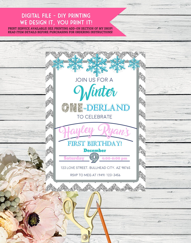 Winter ONE-derland 1st Birthday - Silver Glitter Chevron ...