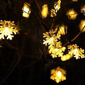 Wantoby 30er Solar LED Lichterkette 6 Meter Schneeflocke - kugeln fur garten