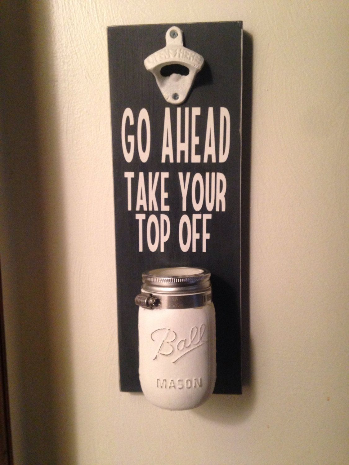 Mounted Beer bottle opener with Mason jar cap catcher by ...