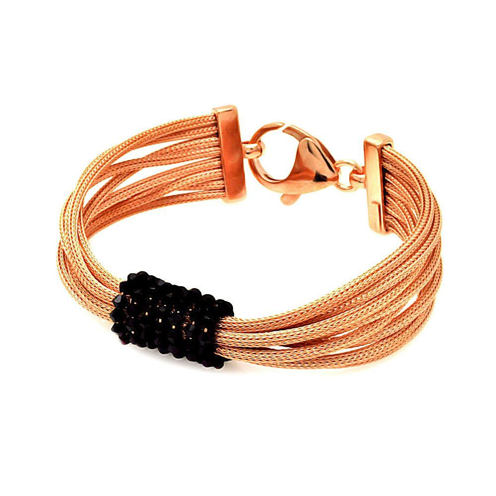 .925 Sterling Silver Rose Gold Rhodium Plated Italian Multiple Strand Center Black Cubic Zirconia Bracelet