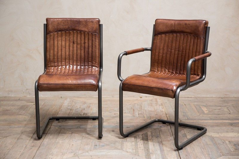 Details About Industrial Look Dining Chair Vintage Style Tan Leather Dining Chair Leather Dining Chairs Dining Chairs Leather Dining Room Chairs
