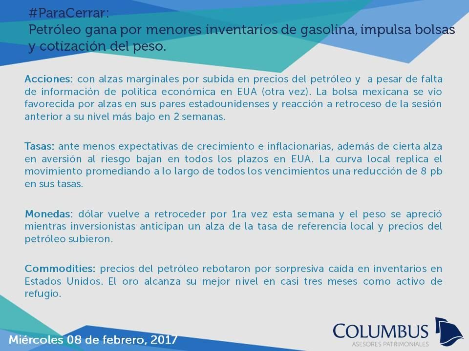 Columbus (@ColumbusDM) | Twitter | #ParaCerrar #Noticias #Columbus Petróleo gana por menores inventarios de gasolina, impulsa bolsas y cotización del peso.