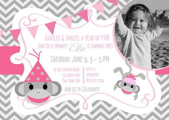Sock Monkey First Birthday Party Invitation Printable