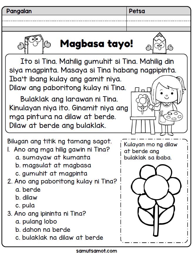 Samut Samot Kindergarten Reading Worksheets Elementary Worksheets Reading Worksheets