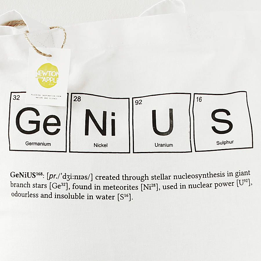 Genius periodic table tote bag y christmas wishlist genius periodic table tote bag gamestrikefo Image collections