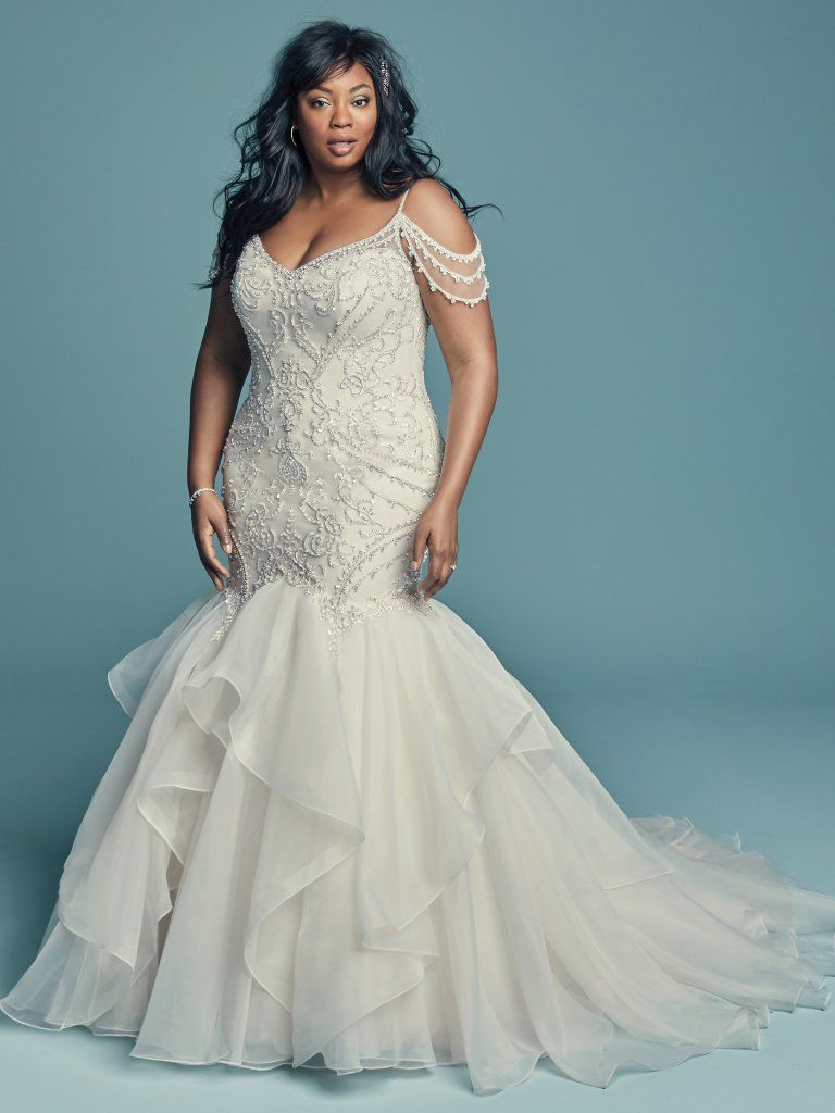Off The Shoulder V Neckline Beaded Lace Mermaid Wedding Dress With Ruffled Organ In 2020 Sottero Wedding Dress Wedding Dresses Kleinfeld Maggie Sottero Wedding Dresses