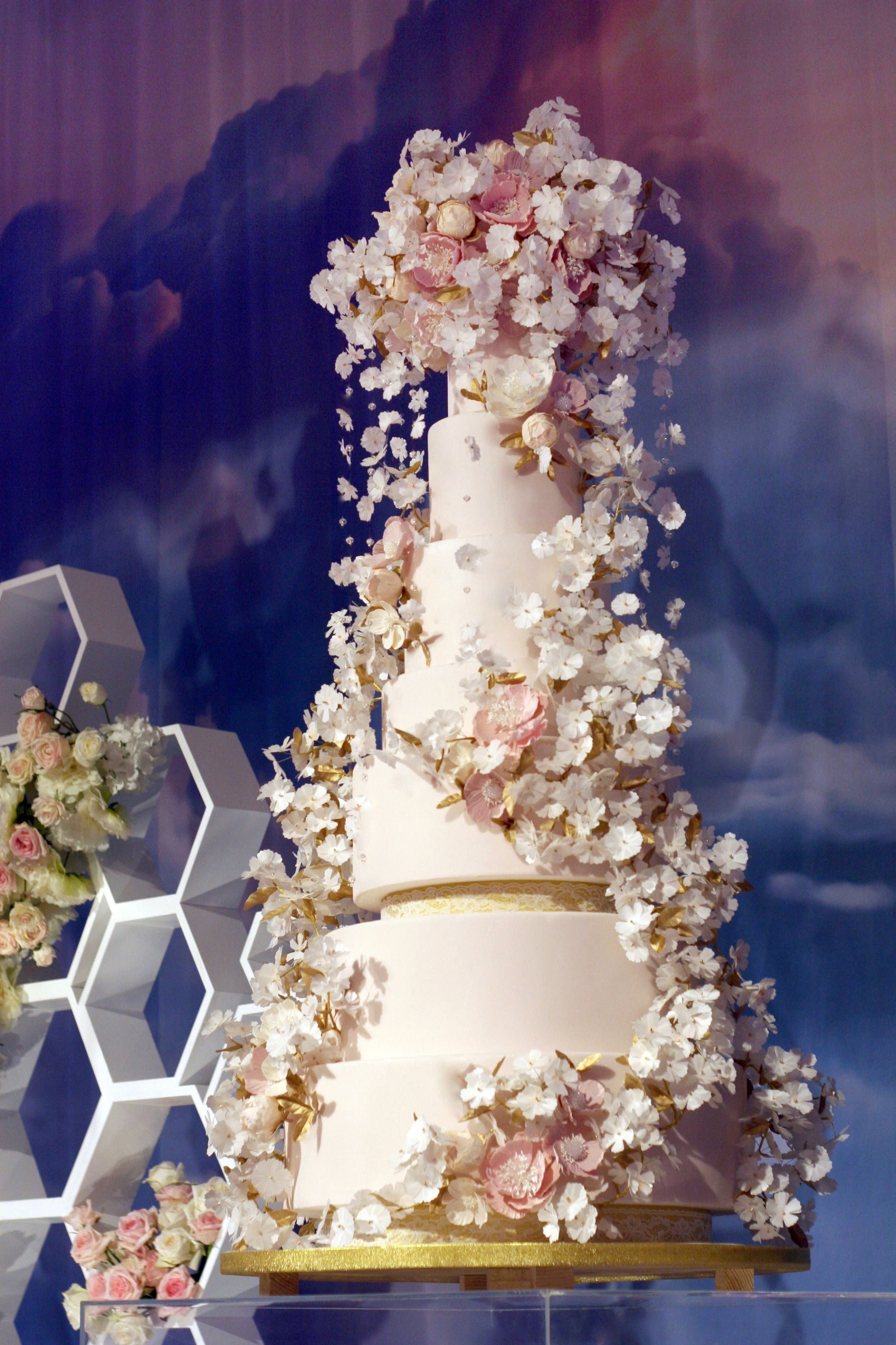 7 Things Nobody Told You About Wedding Cake Cherry Blossom Design Cherry Blossom Wedding Cake Tall Wedding Cakes Gold Wedding Cake