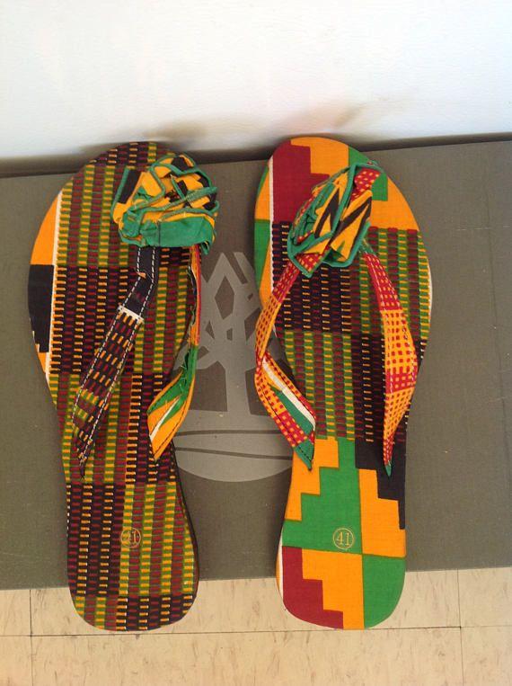 7931c4a8b56fc size 8 slipper kente slippers kente fabric slippers | flip flop ...