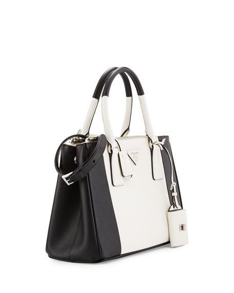 9e4e5dfd8d4eb1 Bicolor Saffiano Lux Tote Bag Black/White (Nero/Bianco) | pola ...