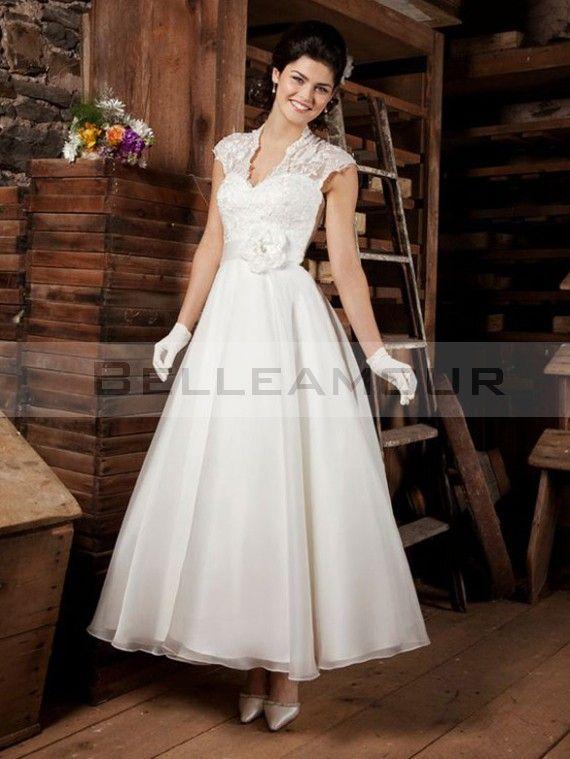 Robe de mariée blanche Vintage Longueur de cheville Col en V