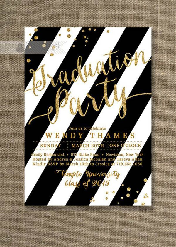 78 Best images about Graduation party ideas – Black and Gold Graduation Invitations