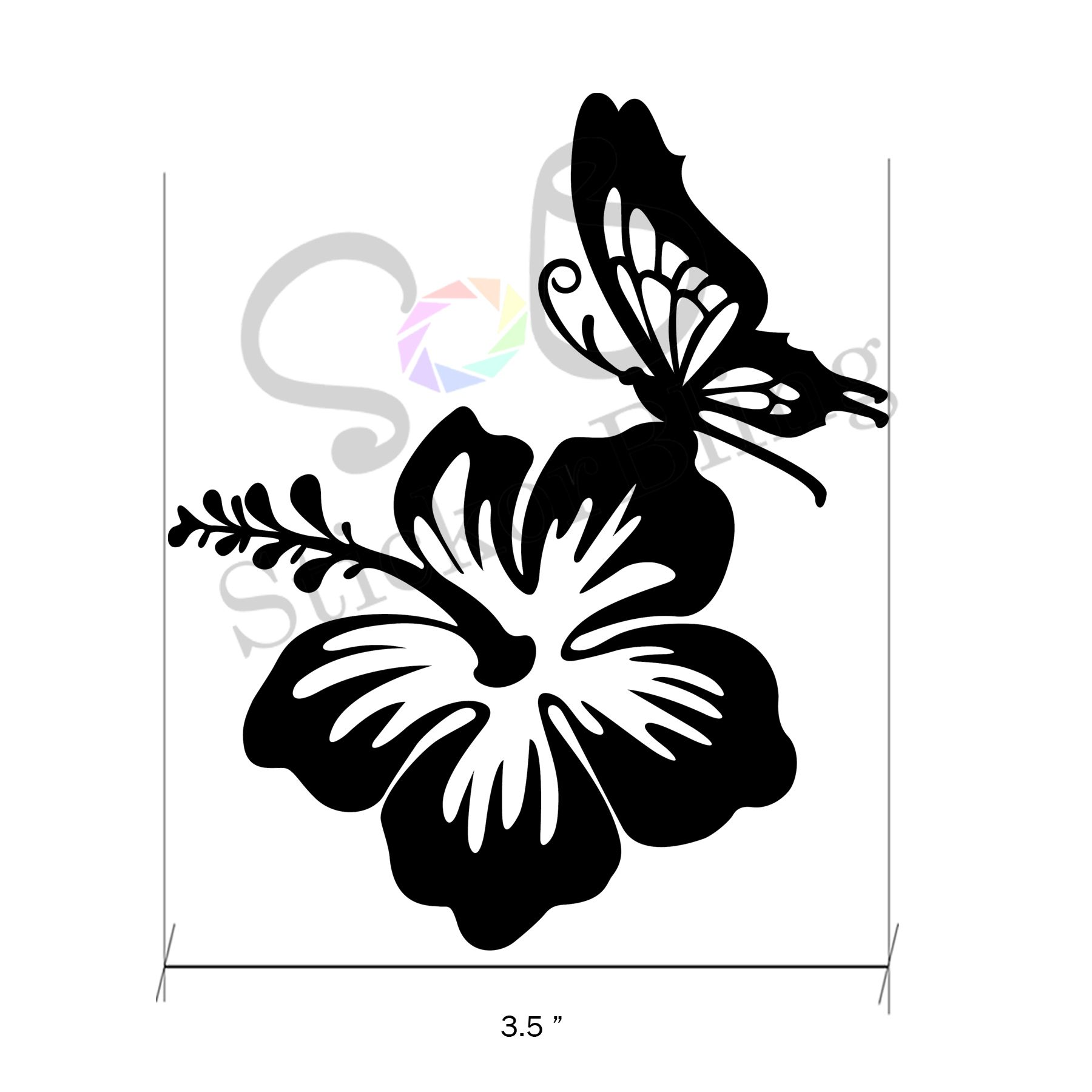 Hawaiian hibiscus flower butterfly vinyl decal sticker car window hawaiian hibiscus flower butterfly vinyl decal sticker car window bumper computer izmirmasajfo