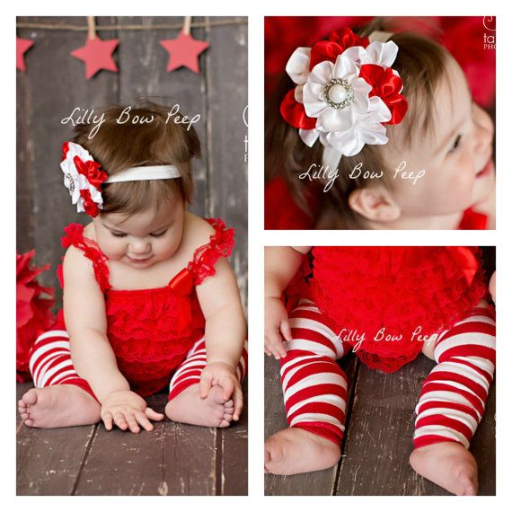 7667c020d4d8f Red & White Christmas Outfit-Lace Petti Romper-Leg Warmers-Headband ...