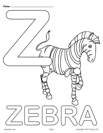 Letter Z Alphabet Coloring Pages 3 Printable Versions Letter A