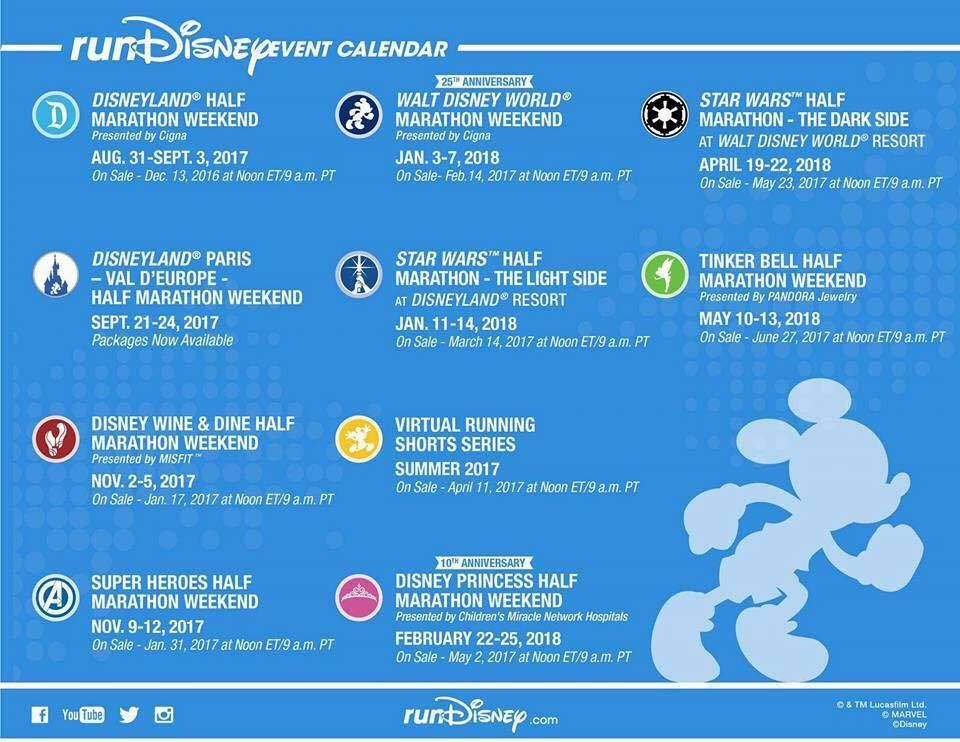 RunDisney 2017 2018 Race and Registration Dates Announced