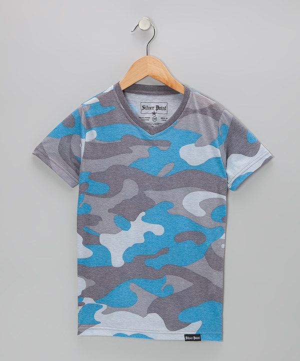 Take a look at this Blue Camouflage V-Neck Tee on zulily today!