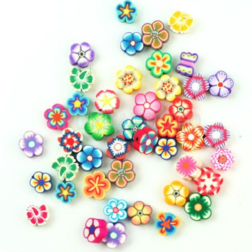 50 pcs Flower Fimo Polymer Charm Spacer Beads DIY Crafts Jewelry Assorted Colors Red Pink White Orange Yellow Green Blue Purple