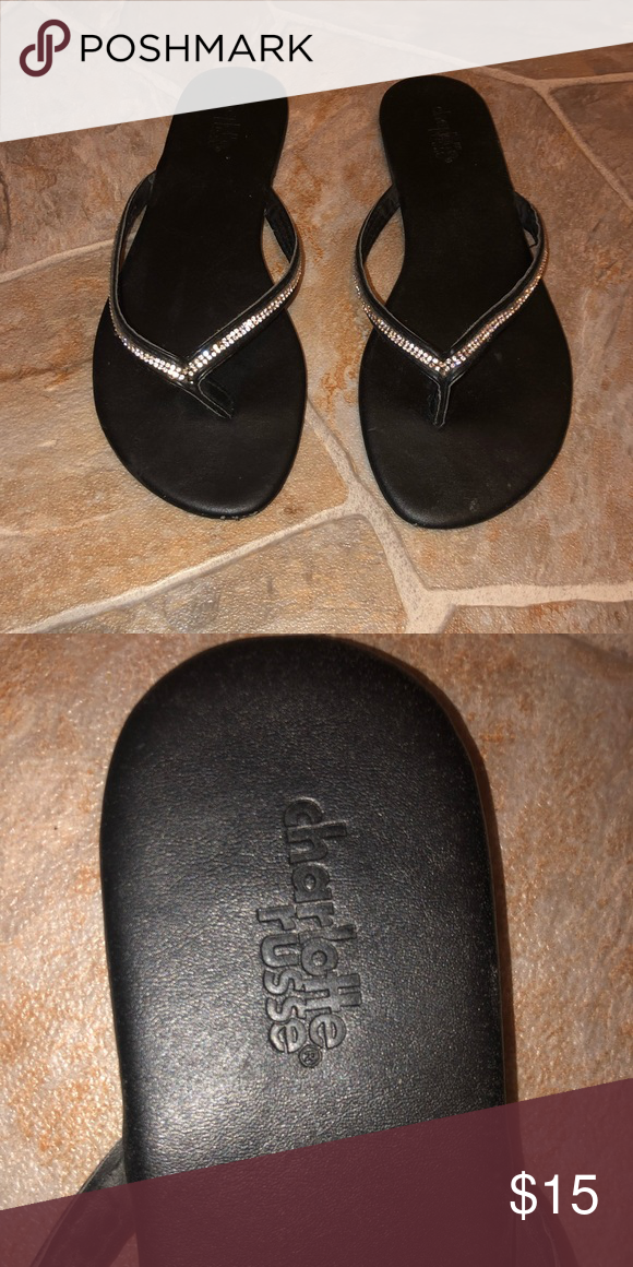 52900f13a34a Charlotte Russe Rhinestone Flip Flops Adorable black flip flops with  rhinestone finish. The size is
