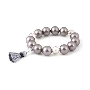 [Beblue Bracelet Be Pearl Tassel Gris/Gray] Bracelet de perles de nacre 14mm et cristal avec pompon en coton. / 14mm mother of pearl bracelet and crystal with cotton tassel.