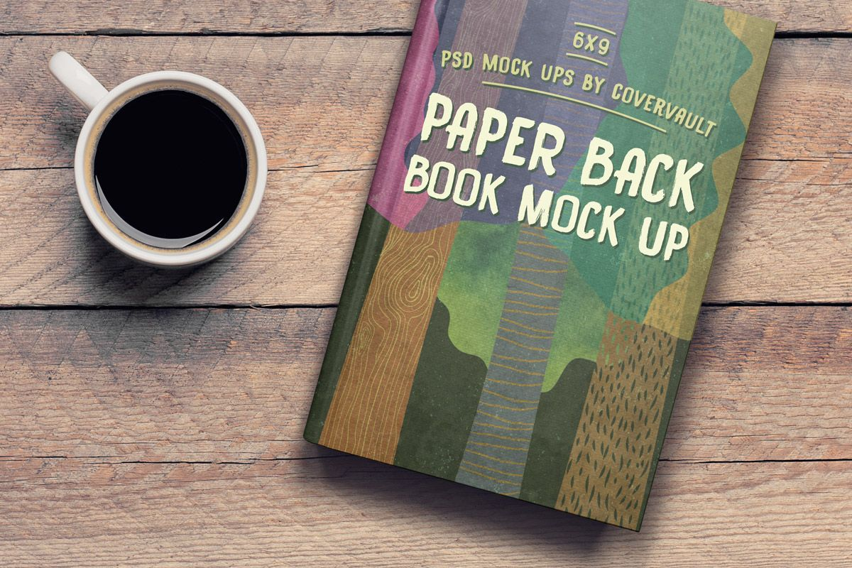 coffee table 6 x 9 book PSD template mockup covervault | Book ...