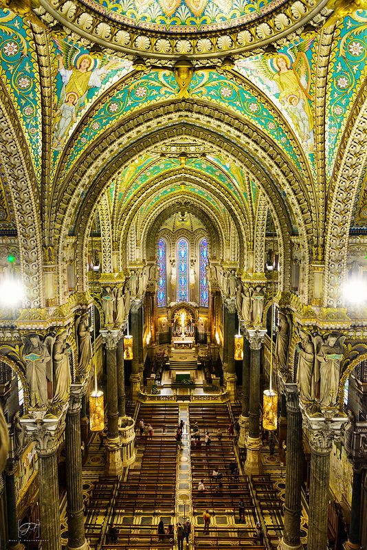 View of Fourviere Cathedral, Lyon, France