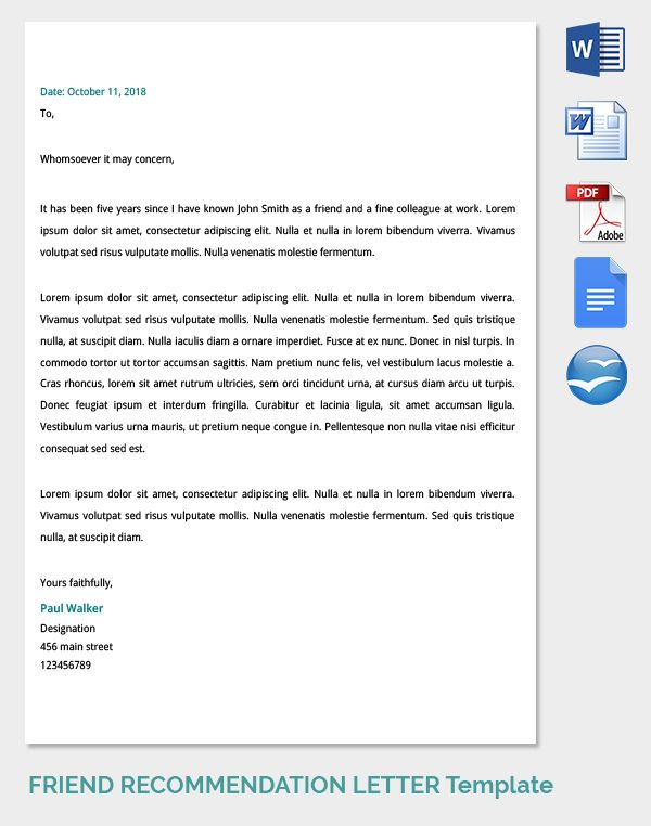 Business Recommendation Letter Sample Image Result For Formal