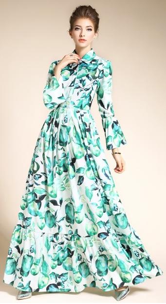 Stylish Floral Print Lapel Bell Sleeve Swing Maxi Dress