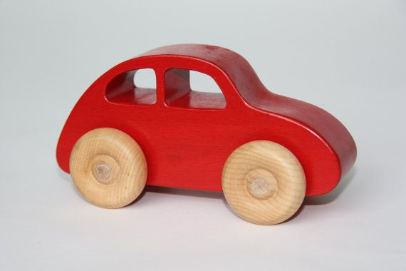 Wooden Toy Car Red Beetle by ByJolanda on Etsy