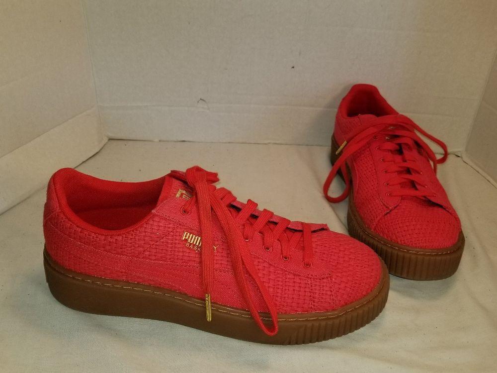 puma basket weave platform sneaker