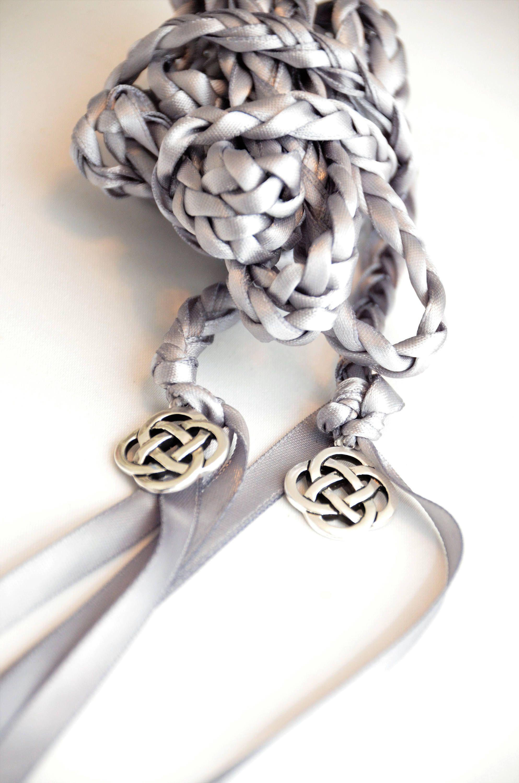 Gunmetal Gray Silver Celtic Knot Wedding Hand Fasting Binding Cord Divinity Braid