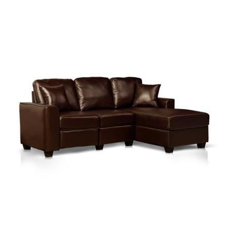 Faux Leather Recliner and Storage Chaise Sofa Espresso - Walmart.com