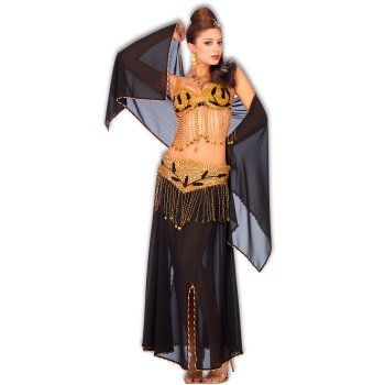 This costume includes a top, skirt, belt, and veil. Available in standard adult size. Not included are the shoes, earrings, and necklace.