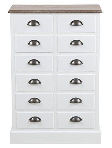 Kommode Landhaus Weiß 60 x 30 x 90 cm mit 12 Schubladen Sideboard - schlafzimmerschrank weis