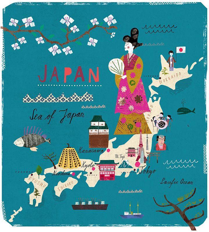 Martin Haake Japan Travel Art Maps Pinterest Japan - Japan map cartoon